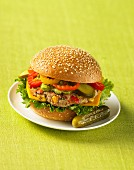 Turkey burger topped with peppers