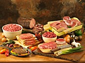 Raw deli meats roast beef and grilled steak