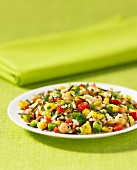 Wild rice salad with chickpeas and peppers