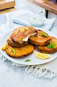 Fried eggplant slices filled with cheese and ham (Italy)