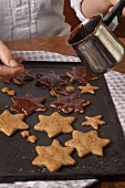 Gluten-free nut stars glazed with chocolate