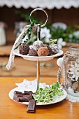 Gluten free thyme truffles on a dessert stand