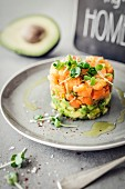 Avocado and salmon tartare with cress
