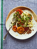 Fennel salad with blood orange, dill oil and green lentils