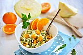 Cabbage salad with orange pieces