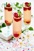 Prosecco jelly with raspberries in tall glasses