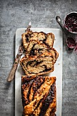 Babka (yeast cake, Central and Eastern Europe) filled with chocolate