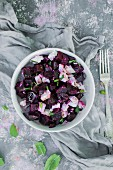 Beetroot salad with feta and mint (top view)