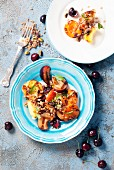 Grilled peaches, apricots, plums, served over greek yogurt with pistachios and barley