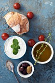 Tzatziki sauce with bread and olive oil