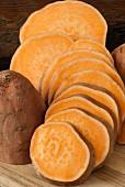 Sliced raw Sweet potatoes