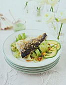 Fish with sesame and cucumber salad (Asia)
