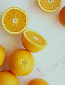 Oranges, whole and halved