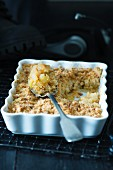 Apple crumble in a baking dish