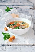 Soup with parmesan dumplings