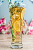 Iced tea with lemon and rosemary