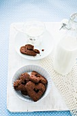 Heart shaped chocolate biscuits and milk