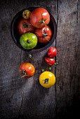 Heritage tomatoes on Wooden Board