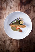 Mackerel with fish croquettes and spinach and coconut sauce