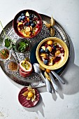 Coconut meal with fruit and pomegranate seeds