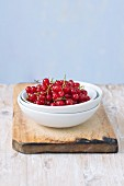 Red currants in a small bowl