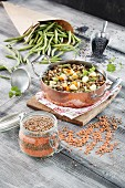 Lentil and bean stew with beef