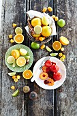 Citrus fruits and orange dessert