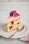 A piece of blackberry cake on a dessert plate