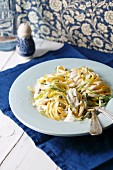 Linguine with orange zest, leeks and cream sauce