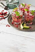 Pomegranate margarita with lime and mint