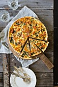 Roasted pumkin and spinach quiche with pinenuts