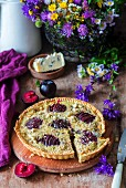 Blue cheese pie with walnuts and plums