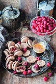Homemade chocolate raspberry macarons
