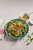 Grilled halloumi salad with grilled apricots, pine nuts, tomatoes and honey mustard dressing