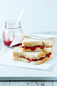 Toasted sandwiches with jam and peanut butter