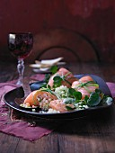 Salmon parcels with melon tartar and relish (Christmas)