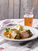 Herb rolls with mashed potatoes and beer (Austria)