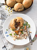 Hearty chestnut bread rolls with chanterelles