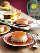 Coffee and caramel flan for a party