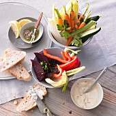 Vegetable sticks with spicy mayonnaise and an anchovy dip