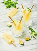 Summer refreshing lemonade popsicles with lime and mint in glasses with chipped ice