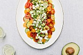 Tomato salad with cucumber and mozzarella (seen from above)