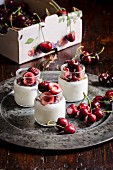 Cherries with yoghurt