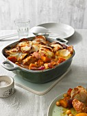 Turkey and pumpkin ragout topped with potato gratin