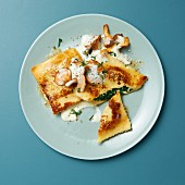 Fried potato dumplings with gorgonzola and spinach and cream, on chanterelles