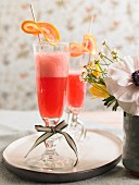 Blood orange mimosas as aperitifs for brunch