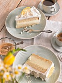 Two slices of lemon cake and coffee