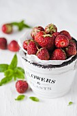 Strawberries in a ceramic pot