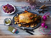 Christmas duck with red cabbage and poultry spices