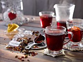 Mulled wine in glasses with oriental mulled wine spices